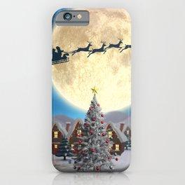 Christmas village night - Amazing cute christmas santa's sleigh goes through fantastic winter small town. iPhone Case