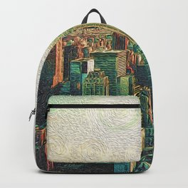 New York City Skyline Vang Gogh Style Oil Painting Backpack