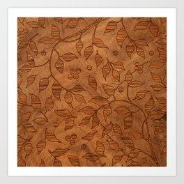 Brown Wood Carved Leafs Pattern Art Print