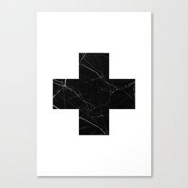 Black Marble Cross Canvas Print