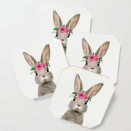 Baby Rabbit with Flower Crown Coaster