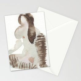 Erotic watercolor of Rain Stationery Cards