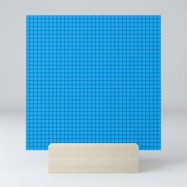 Blue Grid Black Line Mini Art Print