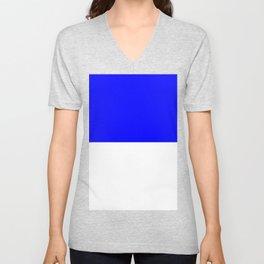 White and Blue Horizontal Halves Unisex V-Neck