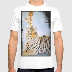 Giraffe Kissing Tiger Mens Fitted Tee White MEDIUM