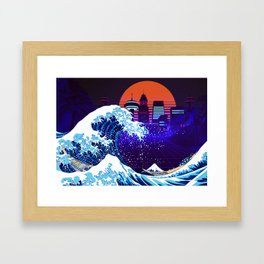 Synthwave Space: The Great Wave off Kanagawa #4 Framed Art Print