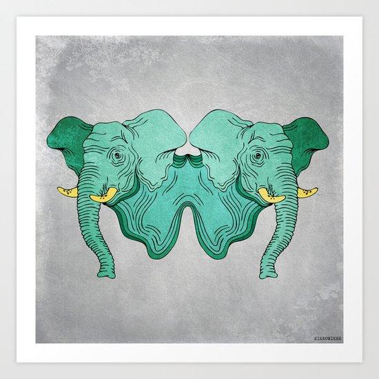 Double Trouble - Elephant Art Print