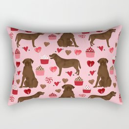 Chocolate Lab valentines day dog breed custom gifts for dog lover with labrador retrievers Rectangular Pillow