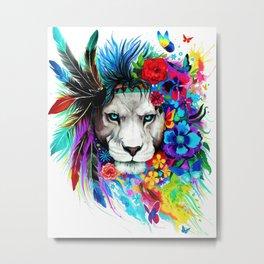 Hipster Lion Metal Print