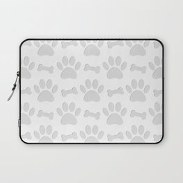 Paper Cut Dog Paws And Bones Pattern Laptop Sleeve