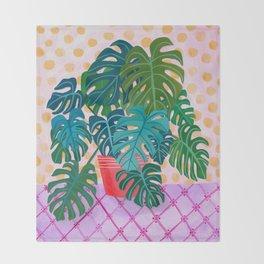 Monstera Houseplant Painting Throw Blanket