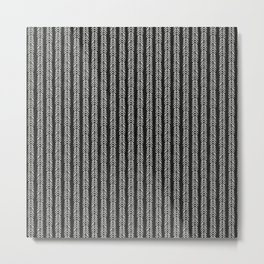 Mud cloth - Black and White Arrowheads Metal Print