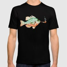 River Sunfish with a Pipe MEDIUM Black Mens Fitted Tee