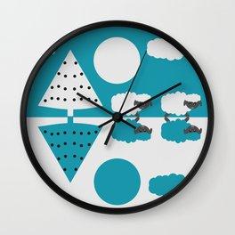 White sheep in a blue world Wall Clock