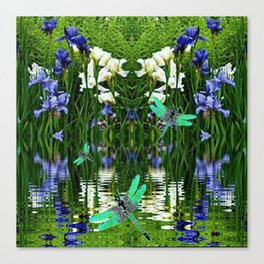 TURQUOISE DRAGONFLIES IRIS WATER REFLECTIONS Canvas Print