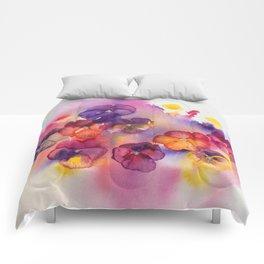 Spring watercolor flowers art colorful pansies Comforters