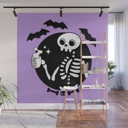 Death Before Decaf // Purple Wall Mural