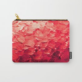 MERMAID SCALES 4 Red Vibrant Ocean Waves Splash Crimson Strawberry Summer Ombre Abstract Painting Carry-All Pouch