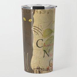 Chat Noir - Black Cat French Collage Travel Mug
