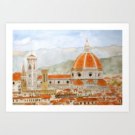 Italy Florence Cathedral Duomo watercolor painting Art Print