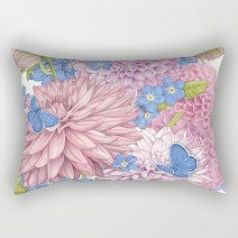 Dahlias and Forget Me Nots Rectangular Pillow