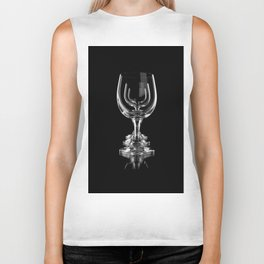 Three empty wine glasses on black Biker Tank