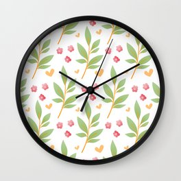 little red flowers and green leaves Wall Clock