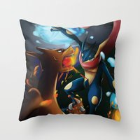charizard Throw Pillows featuring Charizard VERSUS Greninja by Witchy