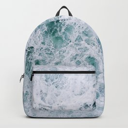 Waves in an abstract white and blue seascape Backpack