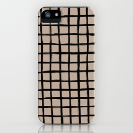 Strokes Grid - Black on Nude iPhone Case
