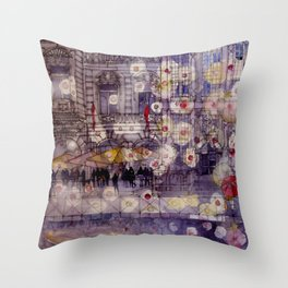 Girl with a red umbrella Throw Pillow