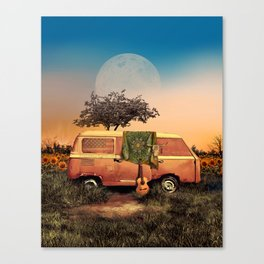 summer sunset landscape with skull and guitar Canvas Print