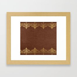 Brown leather texture gold frame Framed Art Print