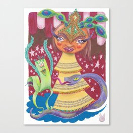 Goddess with Stars, Snake, and Bird Canvas Print