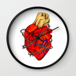 Heart In Barbed Wire , Colour (Inktober Day 13: Guarded) Wall Clock