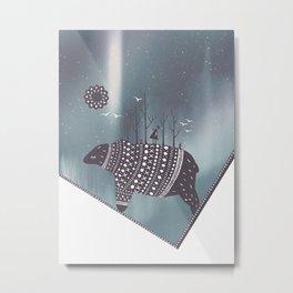 Northern bear with grey polar lights Metal Print