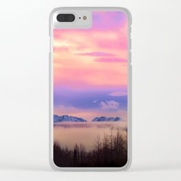 Alaskan Winter Fog Digital Painting Clear iPhone Case