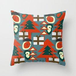 Mid Century Modern Christmas Throw Pillow
