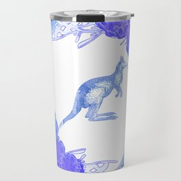 Beautiful Australian Floral print with Kangaroo Travel Mug