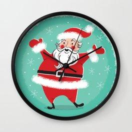 Vintage Christmas card style illustration of jolly Santa waving his arms Wall Clock