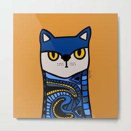Nine Lives of a Cat in Orange Metal Print