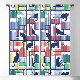Rainbow bookshelf // white background navy blue shelf and library cats Blackout Curtain
