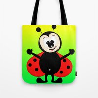 ladybug Tote Bags featuring Ladybug by Digital-Art