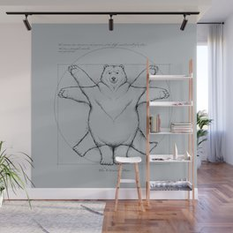 Vitruvian Bear Grey Wall Mural