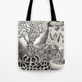 BioTechnological DNA Tree and Abstract Cityscape Tote Bag