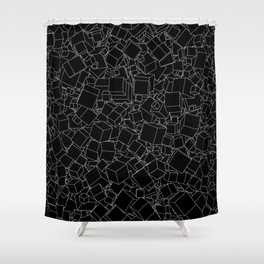 Cubic B&W inverted / Lineart texture of 3D cubes Shower Curtain