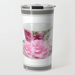 ABSTRACTEd PINK ROSE TEA TIME PORCELAIN ART Travel Mug