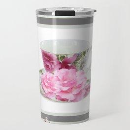 ABSTRACTEd PINK ROSE TEA TIME PORCELAIN ART Travel Mug