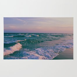 Sunset Crashing Waves Rug