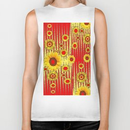 RED ART DECO GOLDEN SUNFLOWERS ABSTRACT Biker Tank